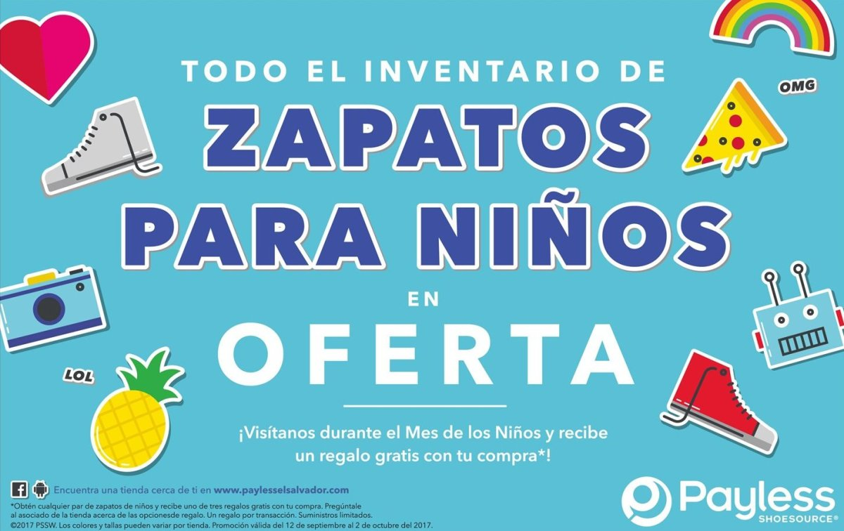 [PAYLESS] ZAPATOS para Niños en OFERTAS (Septiembre 2017)