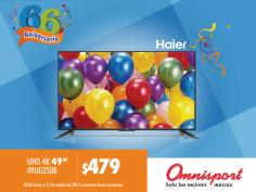 Pantalla ULTRA HD marca HAIER de 49 pulgadas disponible en OMNISPORT