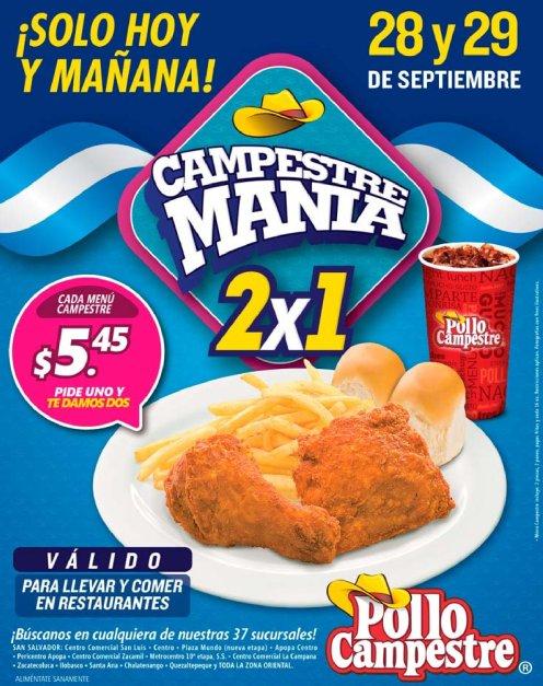 Promocion POllo Campestre 2x1 septiembre 2017