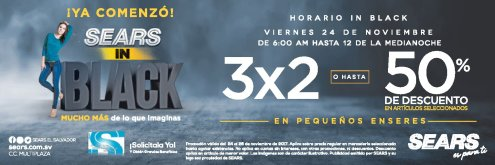 Descuentos y Promciones BLACK friday 2017 sears sv