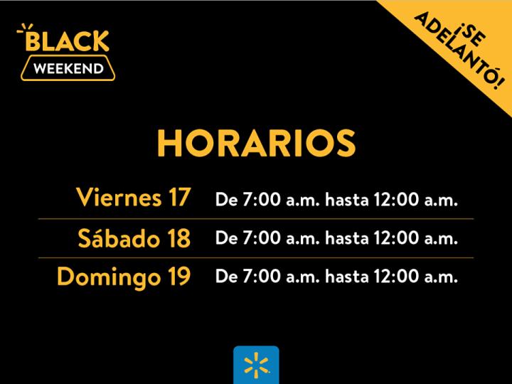 Horarios y fechas del Black WEEKEND 2017 de Walmart