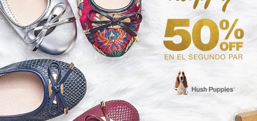 Promociones HUSH PUPPIES segundo par conn 50 OFF DIciembre 2017