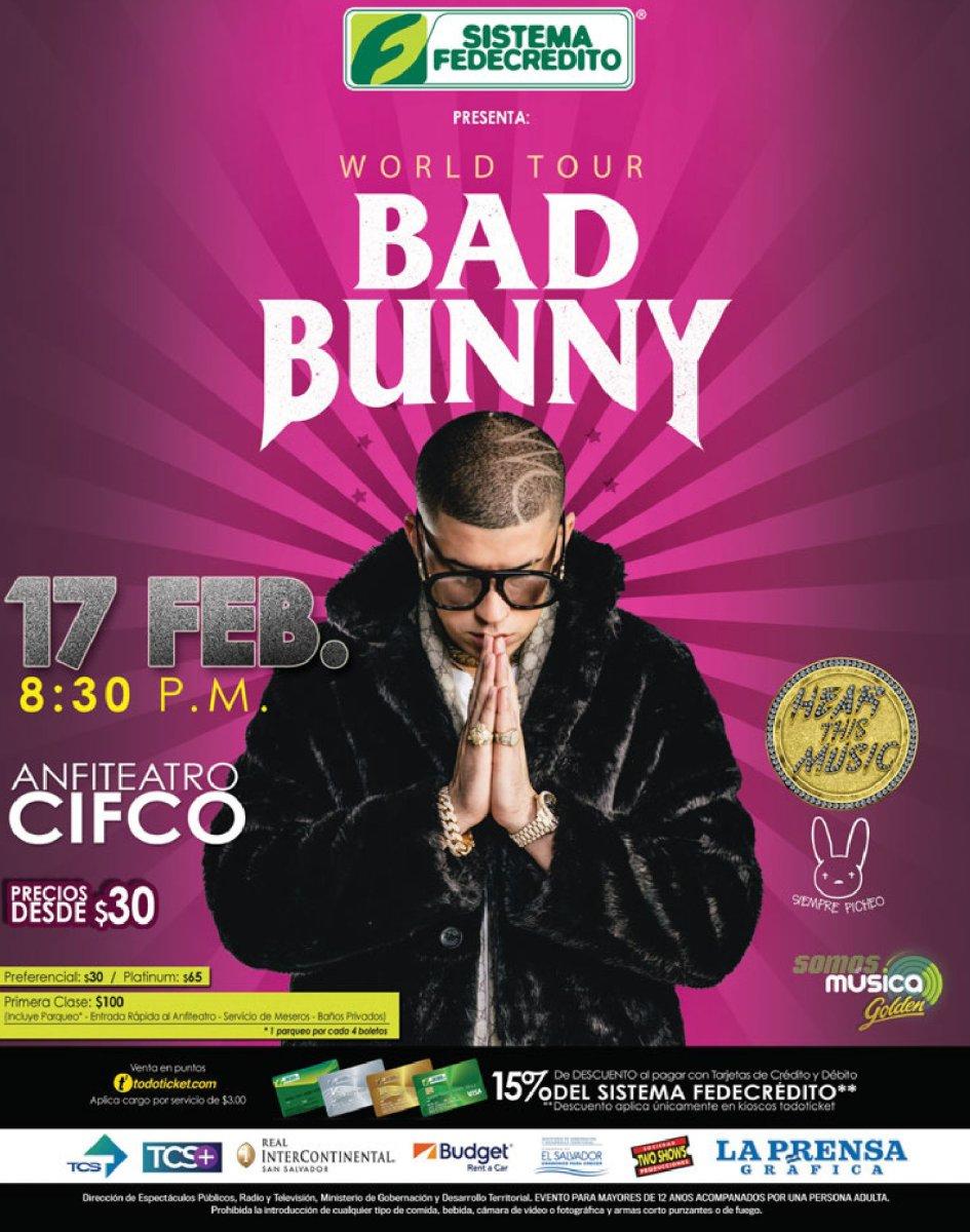 Precios de entradas al Concierto de BAD BUNNY El Salvador (Febrero 2018)