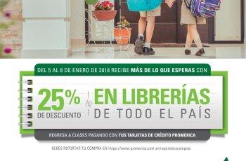 TODAS las librerias del pais con 25 off gracias banco primerica