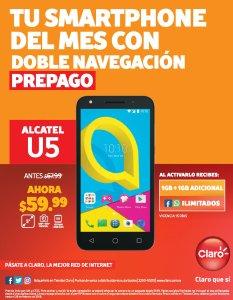 ALCATEL U5 ofertas de smartphone prepago claro