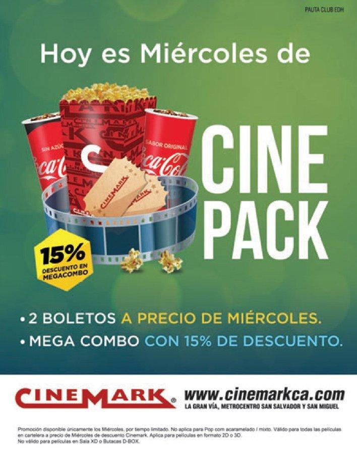 CINEPACK promociones de miercoles en cinemark sv