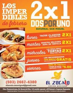 Desayunos del restaurante EL ZOCALO 2x1 promocion san miguel