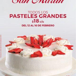 Pastel fresita de Panaderia San Martin promociones 14 de febrero