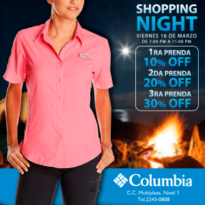 Multiplaza Shopping Night 16 Marzo - COLUMBIA sportwear for her