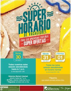 Super horarios y ofertas de verano 2018 en super selectos