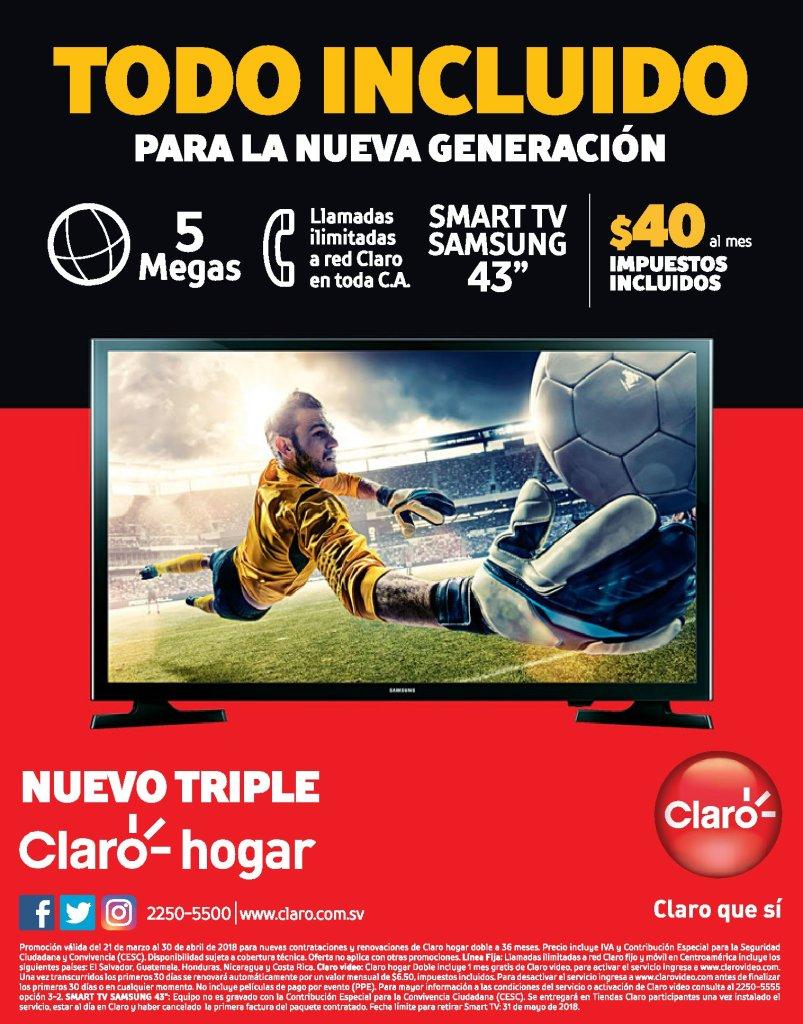 TODO incluido en CLARo hogar triple incluye smart tv 43 pulgadas