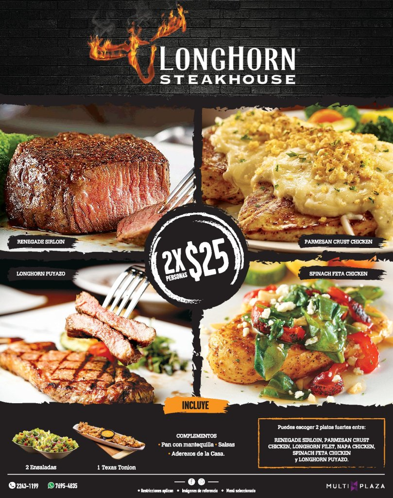 Promocion 2x LONGHORN steakhouse JULIO 2018