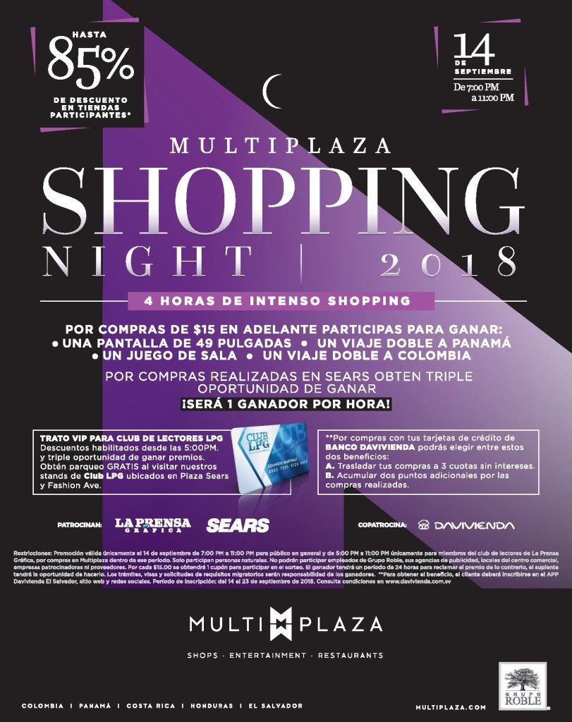 Preparate para el MULTIPLAZA Shopping Night 2018 viernes 14 de septiembre