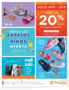 Todos los zapatos para ninos en oferta PAYLESS septiembre 2018