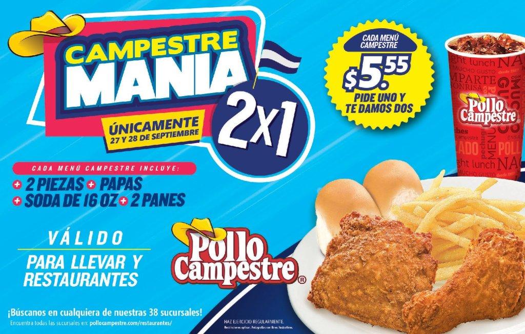 menu de pollo campesre 2x1 para despedir septiembre 2018