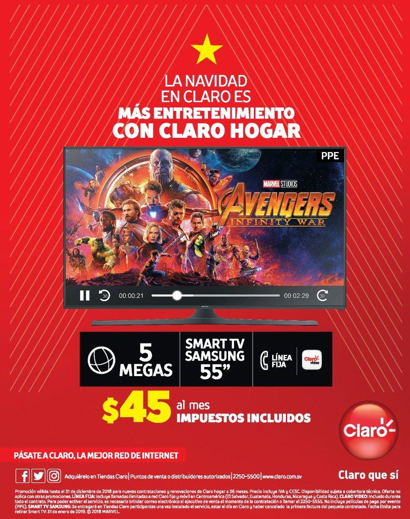 CLArO HOGAR promocion internet 5 MB y televisor samsung 55 pulgadas