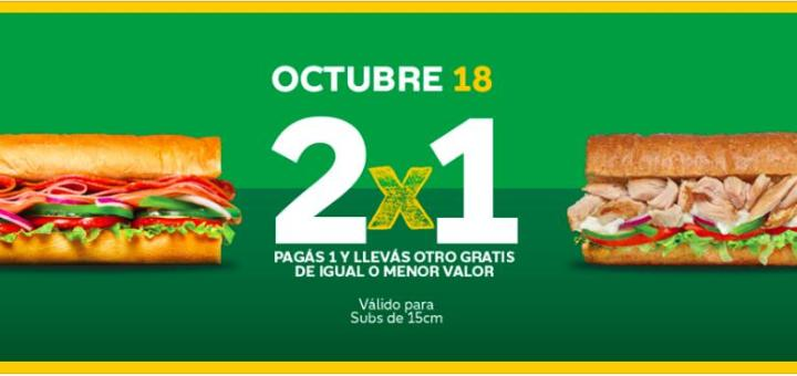 Promociones de subway 2x1 octubre 2019