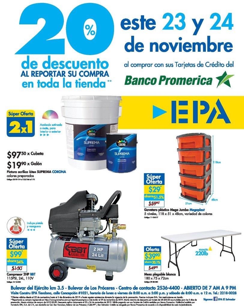 Ferreteria EPA el salvador descuentos fin de semana BLACK - 23 y 24 de nov