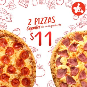 2 Pizzas Gigantes de Pepperoni o Jamón🍕🍕 por $11