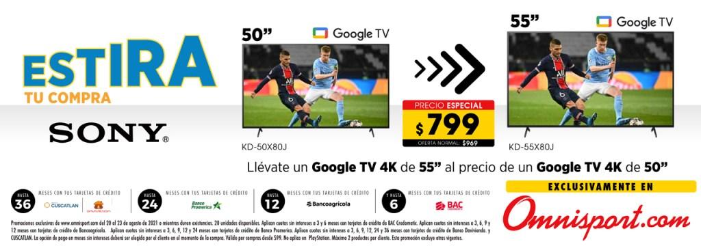 promocion online smart tv sony con GOOGLE TV 2021 el salvador