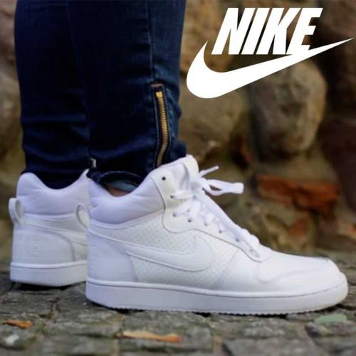 f2c0a81a84a Tênis Couro Cano Alto Nike Recreation Mid Feminino - Branco ...