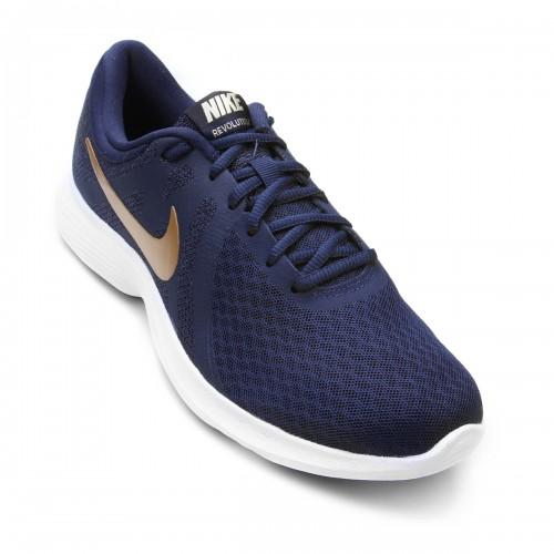d9532d8f4e5 Tênis Nike Wmns Revolution 4 Feminino - Marinho e Dourado ...