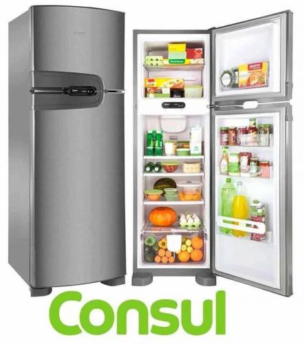 9d73dae01 Geladeira Consul Frost Free Duplex 340 litros cor Inox com Prateleiras  Altura Flex CRM38NK