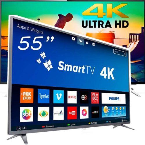 25deee56c35 Smart TV LED 55 Polegadas Philips 55PUG6513 4K USB 3 HDMI ...