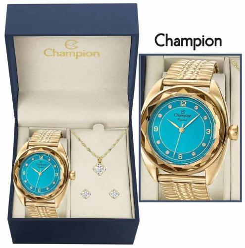 0d3ac252e6d Relógio Feminino Champion Analógico Fashion CN27858Y + Colar e Brinco
