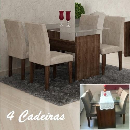 65ac3271b Conjunto Sala de Jantar Mesa Evidence 4 Cadeiras Classic Cel Móveis Malbec/  Suede Pena 84