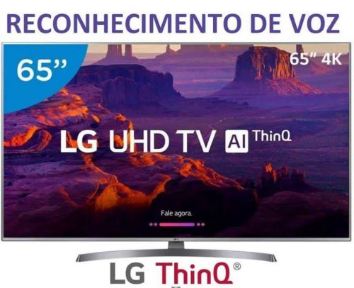 "0ba672c364405 Smart TV 4K LED 65"" LG 65UK6540 Wi-Fi HDR – Inteligência Artificial  Conversor"