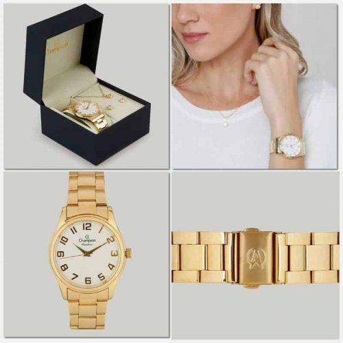 Kit Relógio Champion Feminino Com Colar E Brincos CN29883J ... a8002d95ba