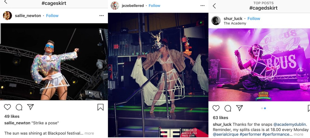 performers wear cage skirts
