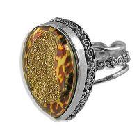 Gold Cheetah Window Druzy Ring - Offerings Jewelry by Sajen