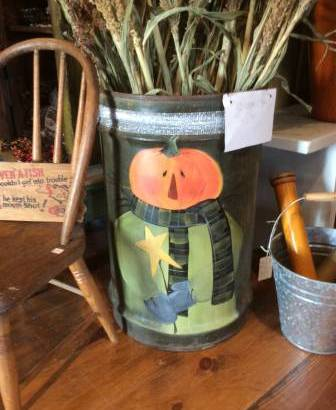 Hand Painted Pumpkin Barrel (SCHODACK) $79