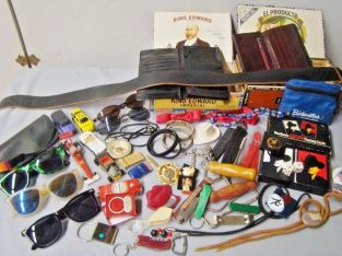 Men's Junk Drawer Collectibles, Jewelry, Sunglasses, Cards, Matchbox Cars, Bolos