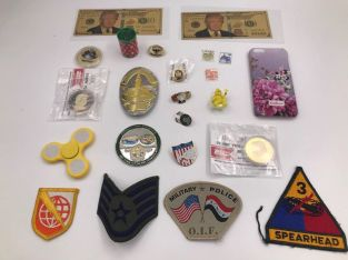 JUNK DRAWER LOT#4A Trump Gold Dollar Patches Medal Coins Police Badge Pin Stamps