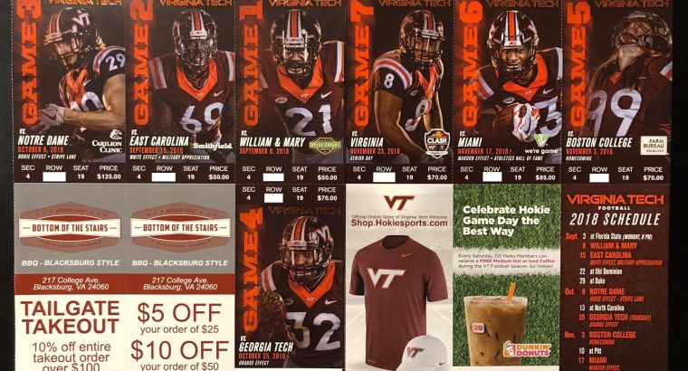 2018 Virginia Tech Hokies Football Collectible Ticket Stub – Any Home Game