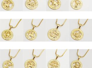 18k Yellow Gold Filled 12 Horoscope Pendant Necklace 18″Chain Charms Jewelry