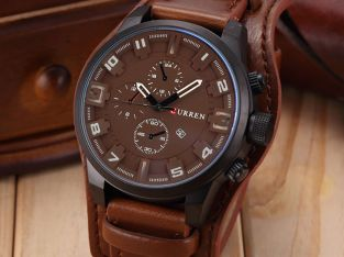 Fashion Curren Men Stainless Steel Leather Analog Quartz Wrist Watch Military