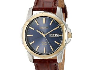 Seiko SNE102 Men's Solar Blue Dial Luminous Brown Leather Band 100M Dress Watch