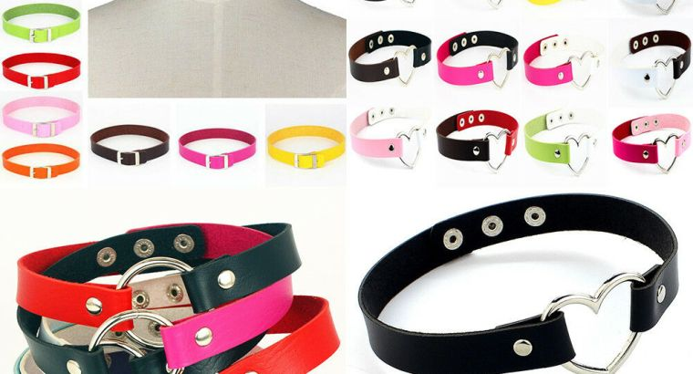 Women Punk Gothic PU Leather Choker Heart Chain Buckle Collar Necklace Jewelry