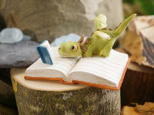 Miniature Dollhouse FAIRY GARDEN – Mini Dragon Reading – Accessories