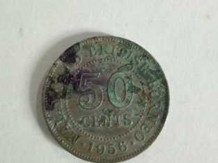 Antique Coin, Queen Elizabeth The Second, Malaya and British Borneo 50 Cents, Year 1956