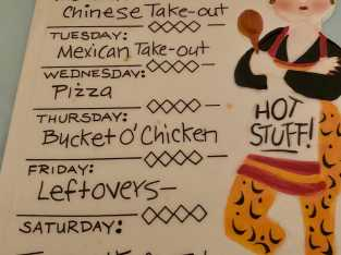 This weeks menu plaque
