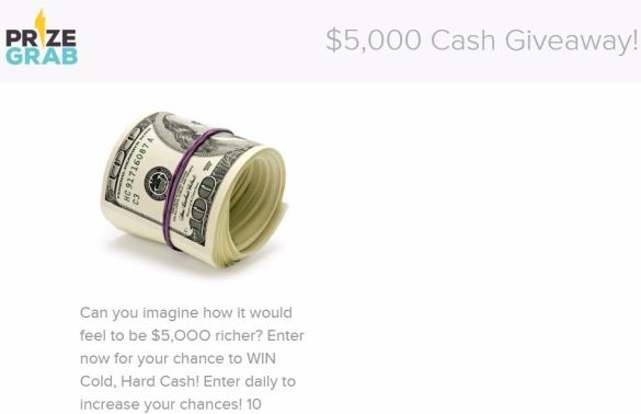 PrizeGrab $5,000 Cash Contest Giveaway Sweepstakes 2017