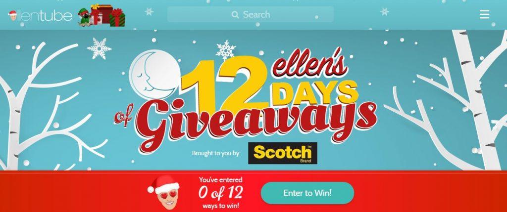 What are ellen 12 days giveaways