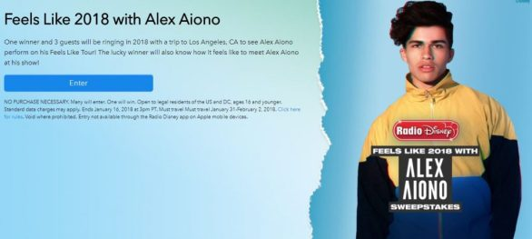 Radio Disney Feels Like Alex Aiono Sweepstakes
