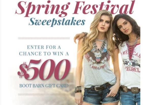 Bootbarn Spring Festival Sweepstakes