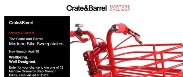Crate & Barrel Martone Bike Sweepstakes